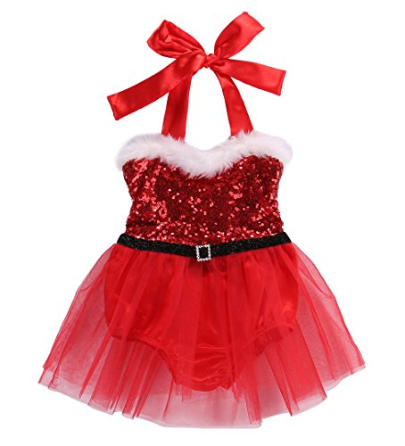 Newborn Baby Girl Rompers Santa Claus Jumpsuit Dress Christmas Outfits Costume (12-18 Months, Red) -