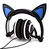 Cat Ear Wired Flashing Light Earphones Foldable Adjustable Hearsets Flash Blue Light for Mp3