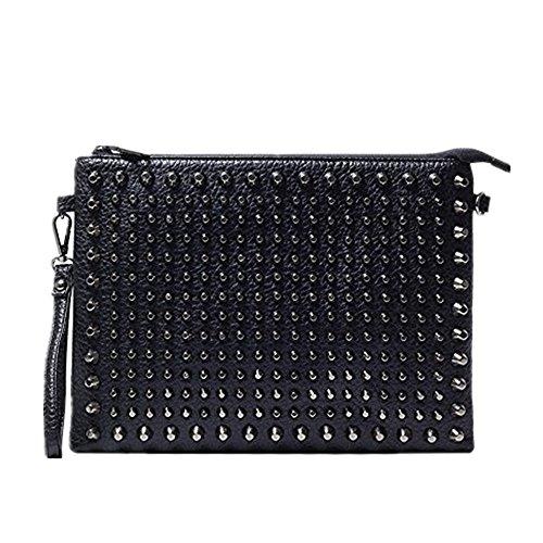 Shozafia Leather Envelope Bag Rivet Studded Clutch Crossbody Wristlet Wrist Bag