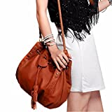 Birdfly Ladies Drawstring Fringed Retro Satchel Tote Purse Leather Women Hand Bag (40cm28cm, Brown)