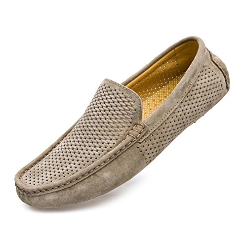 On Hollow Slip UNN Driving Breathable Flats Out Moccasins Shoes Khaki Casual Genuine Loafers Mens Boat Leather aqPB8