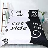 S Hotel Collection Cat Side/My Side 3D White Black Duvet Cover Set, 2-piece Quilt Cover Set-Extremely Soft & Durable