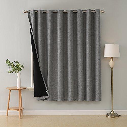 Deconovo Grey Blackout Curtains for Living Room Grommet Top