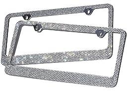 OxGord Rhinestone License Plate Frame Metal Chrome Diamond Bling Glitter Custom 12 Rows of Diamonds, 2pc