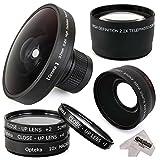 "Ultimate Opteka 220Deg ""Vortex"" Fisheye 0.2x HD Panoramic Filter Lens + Macro Close Up Filters Set + 0.43x HD Wide Angle Panorama Macro Lens + 2.2x High Definition Telephoto Lens for JVC GZ-HM300, GZ-HM320, GZ-HM340, GZ-MC500, GZ-HD500, GZ-MG505, GZ-HD520, GZ-HM550, GZ-HD620 Video Camera Camcorder"