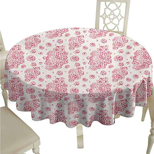 - duommhome Coral Durable Tablecloth Peonies English Roses Victorian Bouquet Corsage Blossoms Flourish Easy Care D55 Pale Pink Dark Coral White