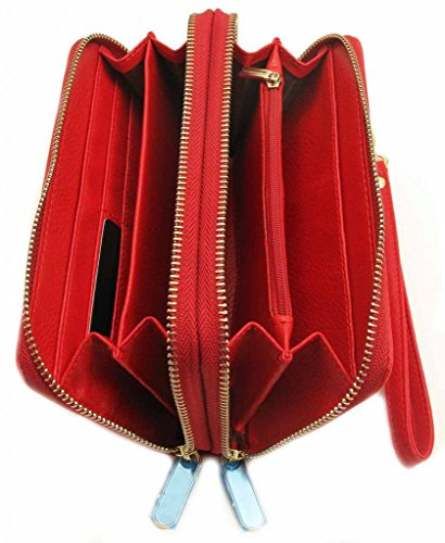 Wallet Womens Wallet Leather Double Zipper Multi Card Cash Coin Organizer Clutch Purse-Orange