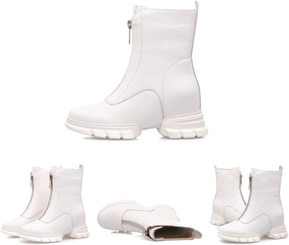 Womens Martin laarzen Herfst Winter Comfortabele Ademende Verhoging Binnen Hoge Ridder Leer Korte Laarzen Retro Outdoor Casual Mode Werk Schoenen Kleur: wit