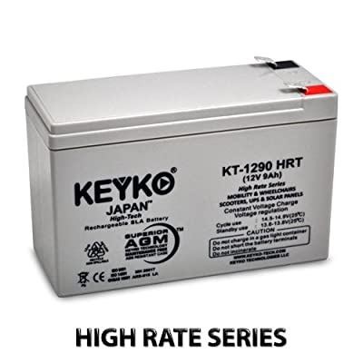 12V 9Ah Deep Cycle AGM / SLA Battery for Wheelchairs Scooters Mobility UPS & Solar - Genuine KEYKO - F-2 Terminal