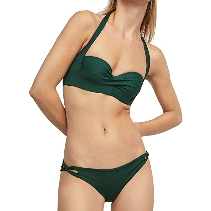 Internet_Mujer Push-Up Acolchado Bikini Top Sexy Slim Bandeau Swimwear Traje de baño Ropa de