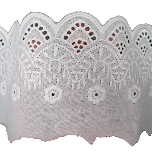 Cotton Lace Trims Fabric Cotton Dress Edge Garment Home Decoration Supply 3 Inches Wide Pack of 14 Yards ()