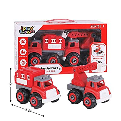 iPlay, iLearn Kids Fire Engine Truck Toys, Take Apart Assembly Play Set, Educational Rescue Ladder Vehicles toy W/ Screwdriver Tool, STEM Learning, Birthday Gifts for 3 4 5 6 7 Year Olds, Boys Toddler: Toys & Games
