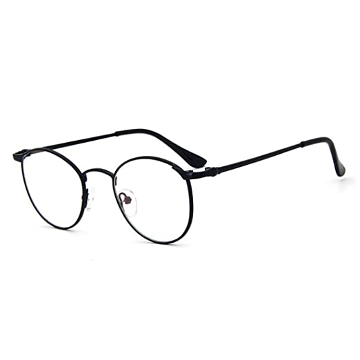 8b3e840f612 D.King Vintage Oversized Round Metal Frames Clear Lens Glasses Eyeglasses  Black