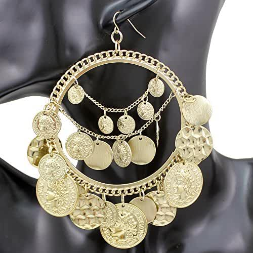 Q&Q Fashion Tribal Rare Coins Big Hoop Banjara Kuchi Belly Dance Chain Boho Gypsy Dangle Earrings 30g/pc