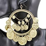 Q&Q Fashion Tribal Rare Coins Big Hoop Banjara Kuchi Belly Dance Chain Boho Gypsy Dangle Earrings 30g/pc
