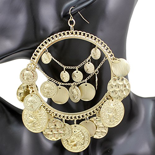 ion® 1Pair Vintage Tribal Rare Coins Big Hoop Banjara Kuchi Belly Dance Chain Boho Gypsy Dangle Earrings,3.9