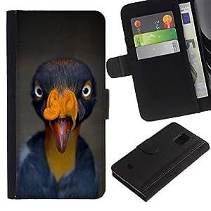 iBinBang / Flip Funda de Cuero Case Cover - Turquía Tropical Azul Amarillo - Samsung Galaxy S5 Mini, SM-G800, NOT S5 REGULAR!