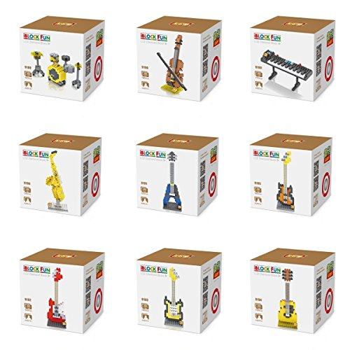 New 9 Pack of Electronic Musical Instruments LOZ Nano block Guitar/Electone/Drum/Saxophone/Bass/Guitar Rock/Violin/Etc Toys Real Hobby Series