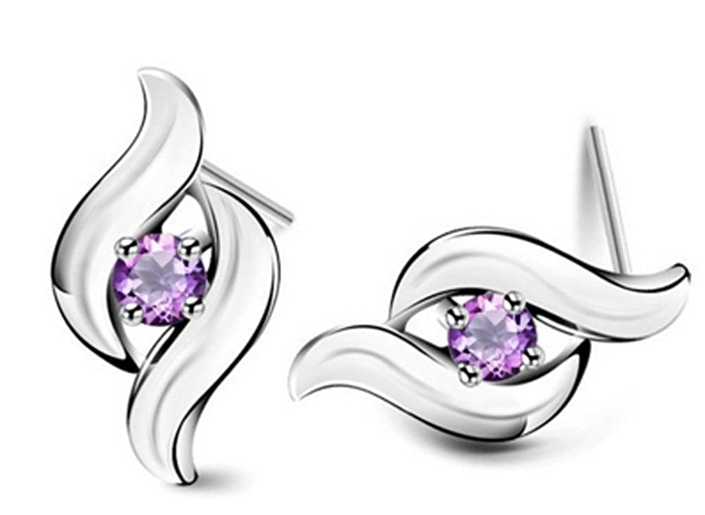 AmaranTeen S925 Solid Silver AAA Crystal Real 925 Sterling Silver