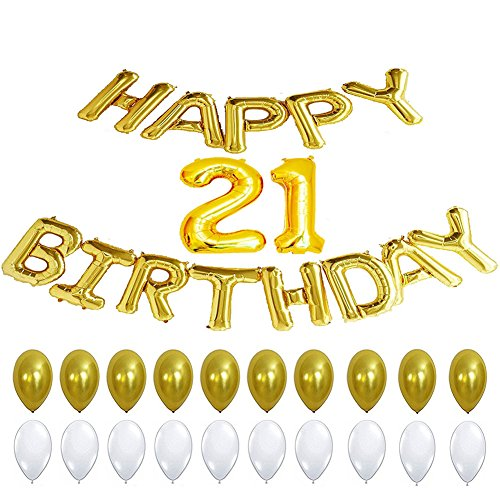 21st Birthday Party Decorations Happy Banner Balloons