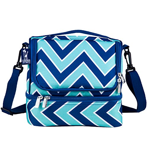 Wildkin Two Compartment Lunch Bag, Insulated, Moisture Resistant and Easy to Clean, Complete with a Microwave & Dishwasher-Safe Container, Ages 5+, Perfect for Kids & On-The-Go Parents, Chevron Blue ()