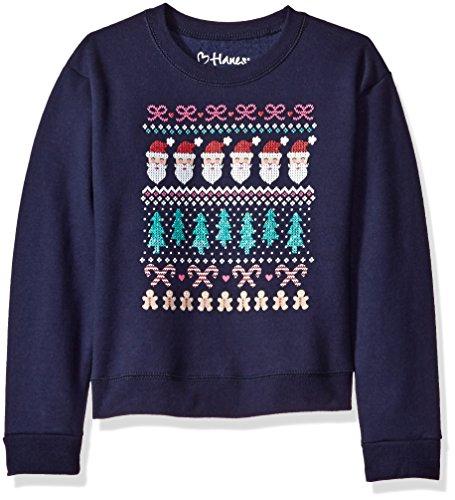 Hanes Big Girls' Ugly Christmas Sweatshirt, Navy Santa Repeat, L (Kids Ugly Christmas Sweater)