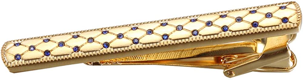 D&L Menswear Men's Gold Plated Tie Clip with Embedded Blue Crystals