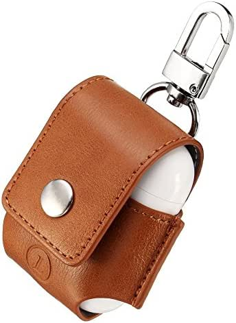 AirPods Case Lunies Anti-Lost Leather Protective Cover for Apple AirPods Charging Case Brown