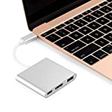 USB 3.1 Type C to HDMI Converter 4K USB 3.0 USB-C Adapter Cable Fast Charging Port for Mac ChromeBook USB-C Device to HDTV/Projector-Gold (Silver)