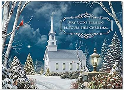 Religious Christmas Images.Religious Christmas Card 9 Pack Holy Night Country Church 5 X 7 White Envelopes 9 1