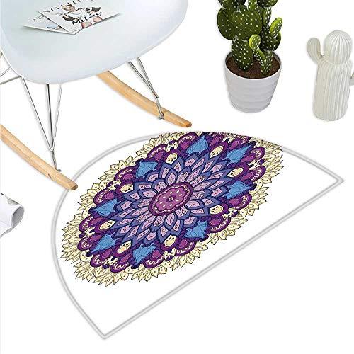 Mandala - Felpudo semicircular con forma de flor, gráfico uniforme con contornos de color oculta esotérico, imagen...