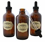 4 oz Capacity (120 ml) Glass Dropper Bottles - Multi-purpose Laboratory, Liquids, Essential Oils WITH Glass Pipette FREE bonus Decorative Labels - Pack of 3