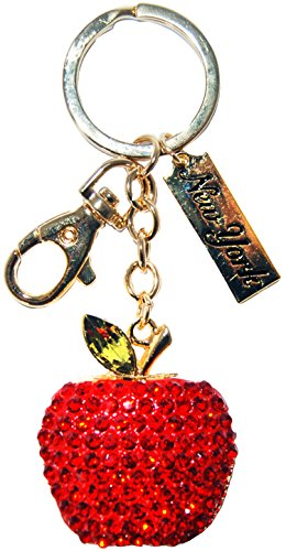 Red Diamond Encrusted Apple with a Chrystal Leaf Attached- Comes With Tags of New York