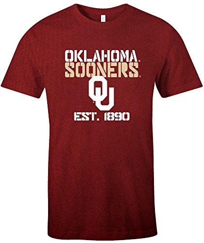 NCAA Oklahoma Sooners Est Stack Jersey Short Sleeve T-Shirt, Cardinal,X-Large