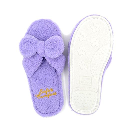 Millffy Intérieur Mignon Femme Femme Flip Flop Été Kawaii Pantoufle Chaussures Plancher Moelleux Chaussons Violet
