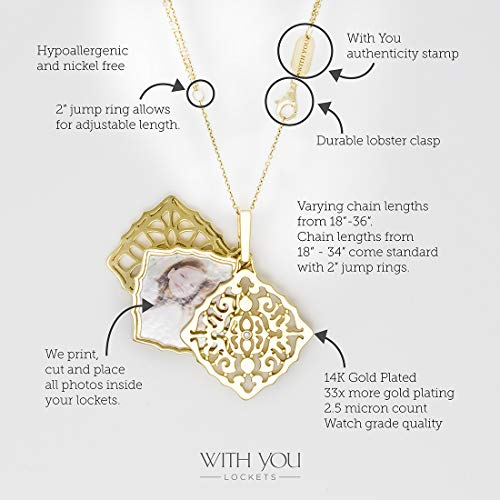 With You Lockets-Fine Yellow Gold-Custom Photo Locket Necklace-That Holds Pictures For Women-The Mimi by With You Lockets (Image #2)