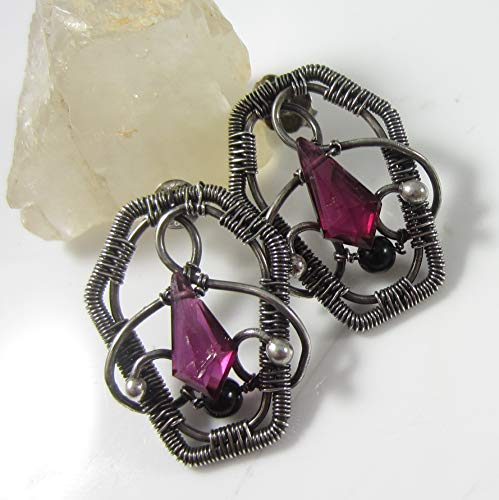 Death Becomes Her Earrings - Sterling and Fine Silver Coffins with Rhodolite Garnet and Black Tourmaline