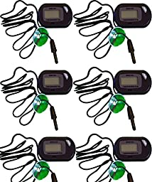 Six Pack Of Professional Digital Thermometers for Hydroponics & Aquaculture, Amphibian & Reptile Terrariums, Freshwater Tropical Fish & Saltwater Fish Aquariums!! Sold By Pidaz