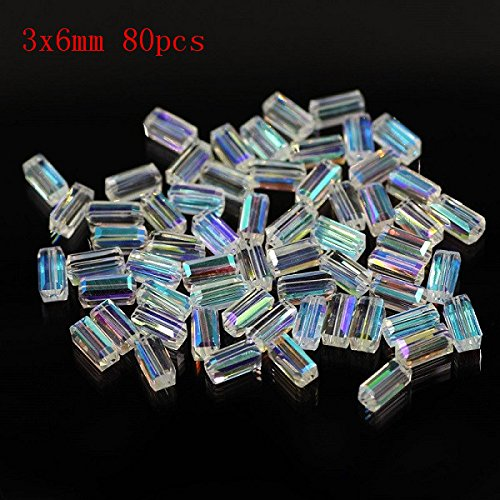 AB Plating Color Crystal AAA quality 6X12mm Rectangular Crystal Glass Beads Loose Beads For Necklace Bracelet Jewelry 005