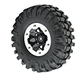 LAFEINA 1:10 Scale Tire and Wheel Set, 1.9 Inch Beadlock Wheel Rim & 96mm Rubber Tires for Axial SCX10 D90 RC Rock Cralwer Pack of 4