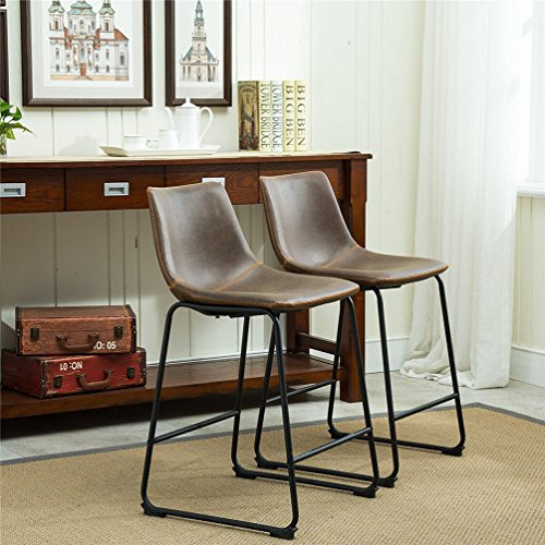 TimmyHouse 2 Pack Vintage Stools Bar Counter Height Stool Chair w/High Back Sunken Seat (Asda Bench Rattan)