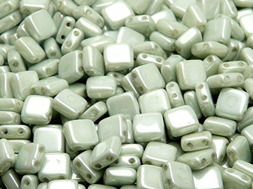 40pcs-czech-glass-beads-tile-two-hole-flat-square-6x6x29mm-chalk-light-green-luster