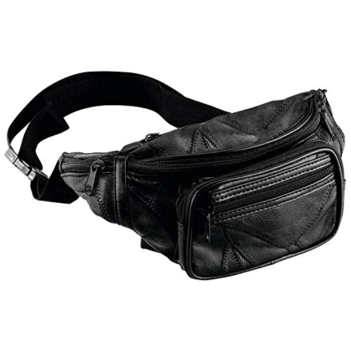 Maxam Italian Mosaic Genuine Lambskin Leather Waist Bag, Black