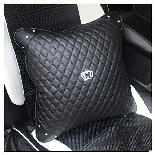 HYL World Car Accessories Throw Pillow Four Seasons Universal Leather Diamond Crown Pillow(Black-3)