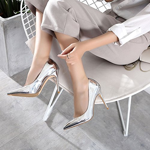 Dream Silver Female Vintage Sexy Pointed High Heels Fashion Elegant Lady PU Leather Shoes Comfortable Shallow Mouth Wedding Shoes Silver 10cm cmQgxt