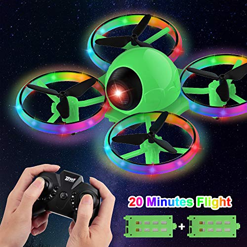 Dwi Dowellin 6.3 Inch 10 Minutes Long Flight Time Mini Drone for Kids with Blinking Light One Key Take Off Spin Flips RC…