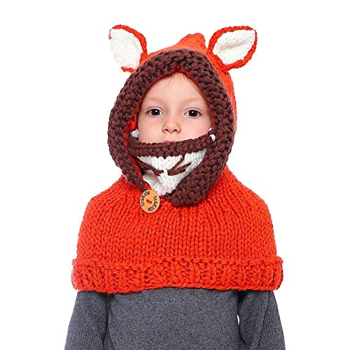 - Warm Winter Kids Hat Crochet Knitted Caps coif Hood Fox Scarf Earflap Beanies Brick Red Fox