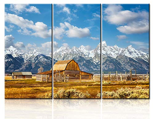 Native American Wall Decor Grand Teton Pictures Mountain Range Paintings for Living Room 3 Panel Canvas Contemporary Yellow Barn in Black and White Style Fall Landscape Artwork Framed(40''x60'')