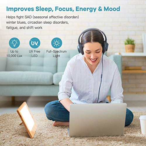 SAD Light Therapy Lamp 10000 Lux, Wood Grain Daylight Lamp Helps Combat Seasonal Affective Disorder, Portable Home Office Natural Sunlight Energy Lamp with Timer Function Touch Control UV-Free