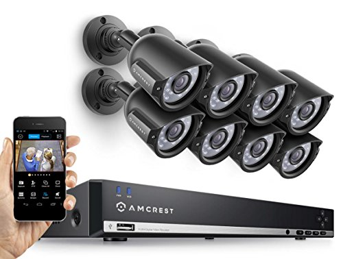 Amcrest AMDV960H8-8B 8CH 1TB DVR Security Camera System w/ 8 x 800+ TVL Bullet Cameras (Black) (Certified Refurbished) by Amcrest
